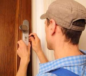 Locksmith opening a door